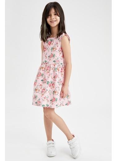 DeFacto Kız Çocuk Çiçek Desenli Kolsuz Elbise Pembe
